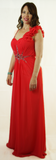 Coral Floor Length Evening Dress
