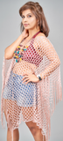 Champagne Pink Mesh Poncho with Fringe - VzCollection