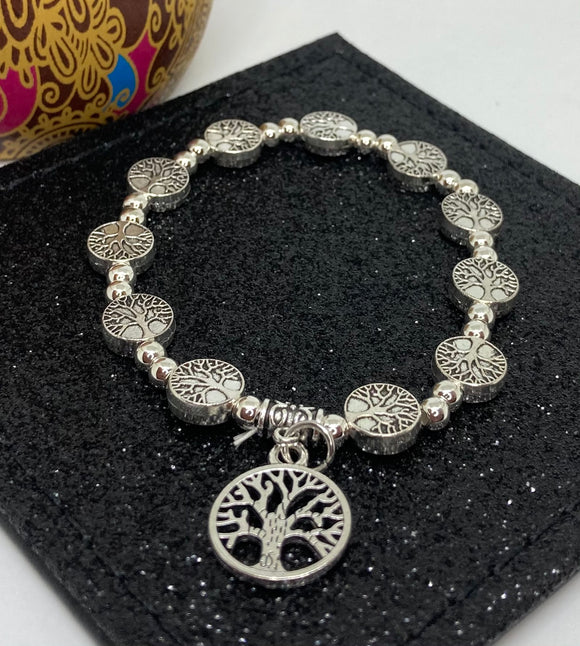Mulberry Tree Charm Bracelet with Small Mulberry Tree Beads Elasticated Bracelet