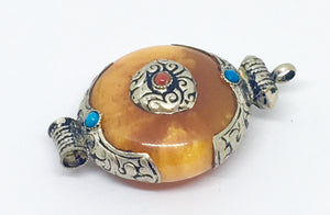 Amber Tibetan Stone Pendant - Vz Collection
