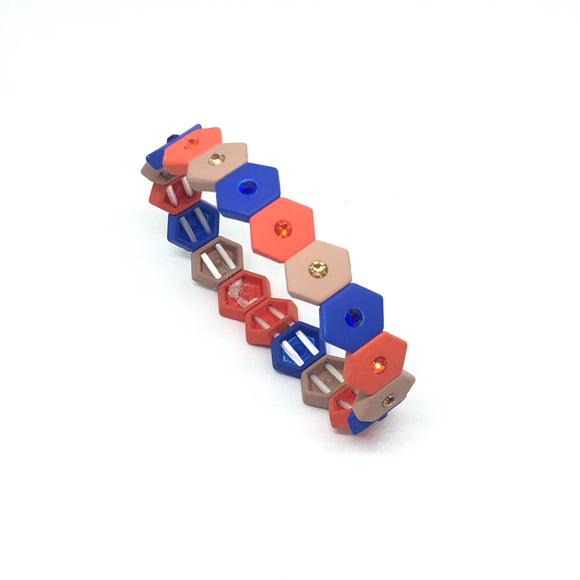 Multi Colour Hexagon Bracelet with Diamanté - VzCollection