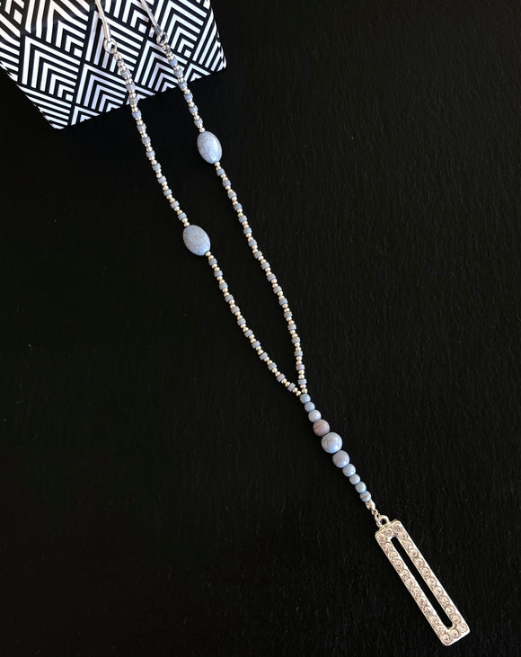 Angelite Beads with Rectangular Sparkling Pendant Long Necklace - Vz Collection