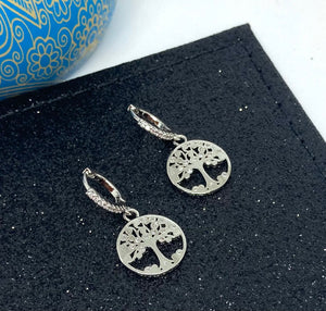 Mulberry Tree Hoop Earrings with Diamanté - VzCollection