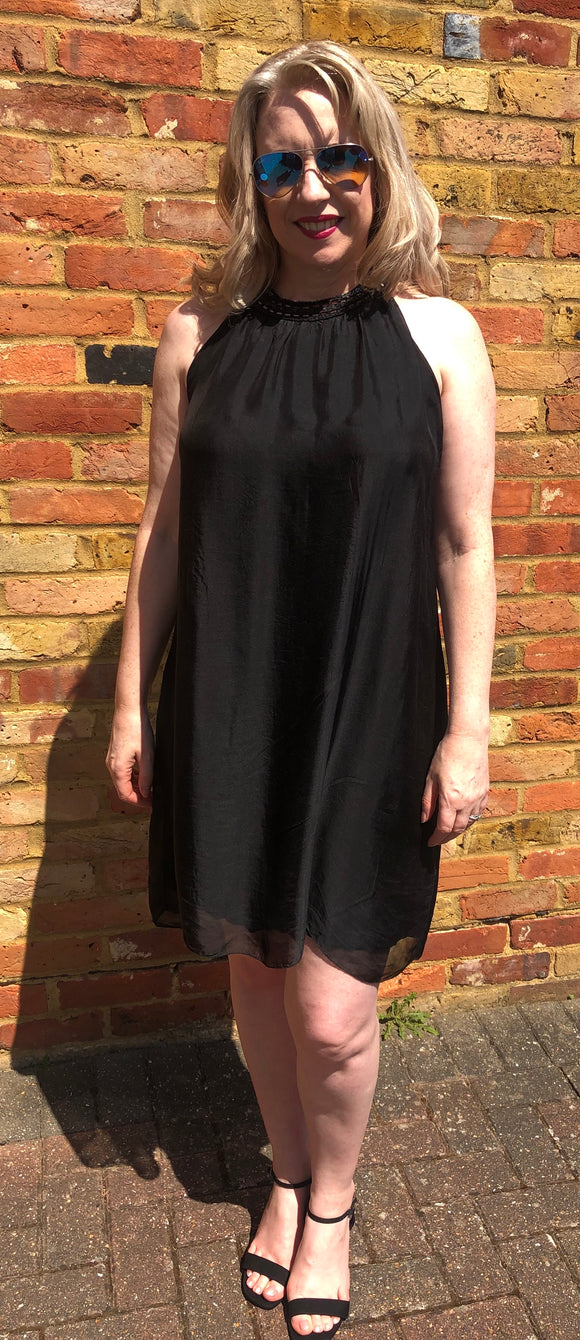 Black Cocktail Dress in Italian Silk - Vz Collection