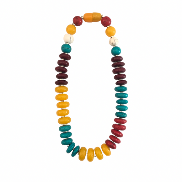 Multicolour Resin Bead Short Necklace - Vz Collection
