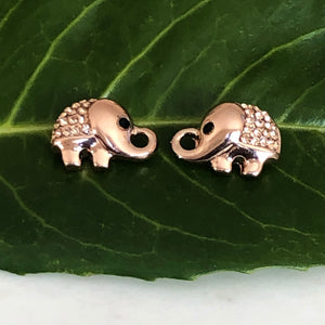 Elephant Earrings with Zirconia - Rose Gold - VzCollection