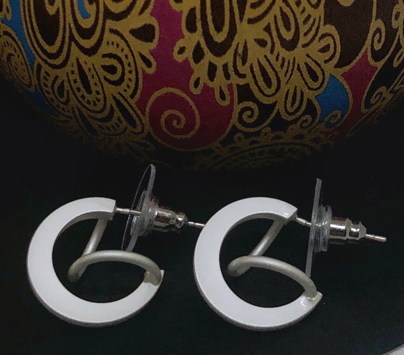 Matt Finish Hoop with a Swirl Earrings - Vz Collection