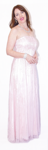 Pink Off Shoulder Floor Length Evening Gown - VzCollection