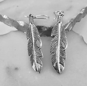 Silver Plated Feather Earrings - VzCollection