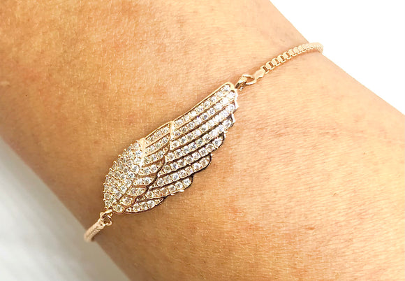 Angel wing with Tiny Zirconia Slider Bracelet - VzCollection