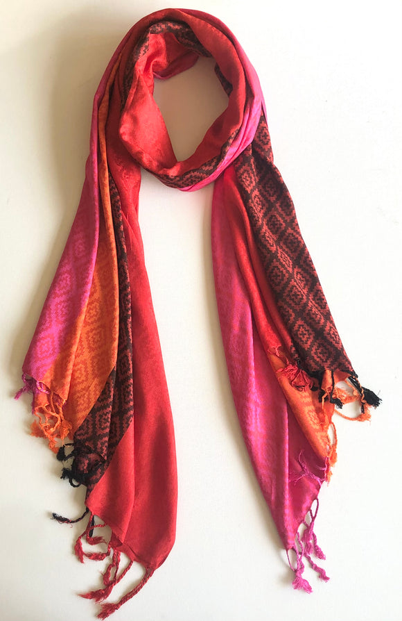 Solid Colours with Diamond Pattern Pashmina Scarf - Vz Collection