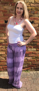 Lilac with Purple Stripe Print Trousers - VzCollection