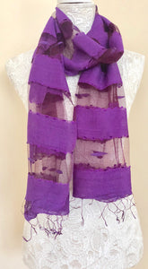 Glass Silk Scarf - Purple - VzCollection