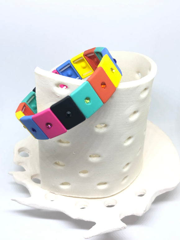Multi Color Rectangle Bracelet with Diamanté - VzCollection