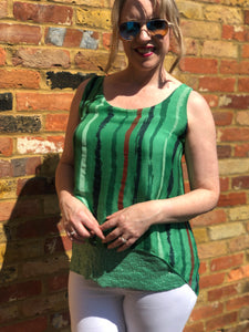 Emerald Green Boho Italian Silk Top - VzCollection