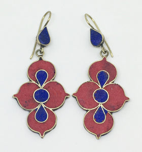 Tibetan Influenced Red & Blue Lotus Earrings