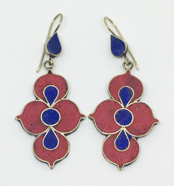 Tibetan Influenced Red & Blue Lotus Earrings - VzCollection