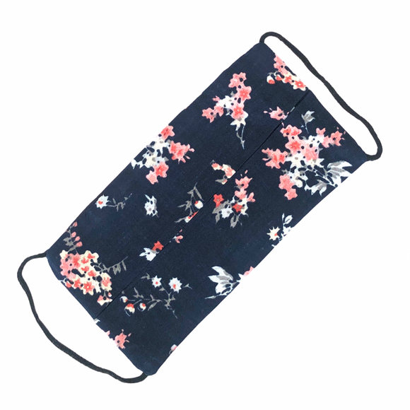 Floral Print on Blue Cotton Face Mask - VzCollection