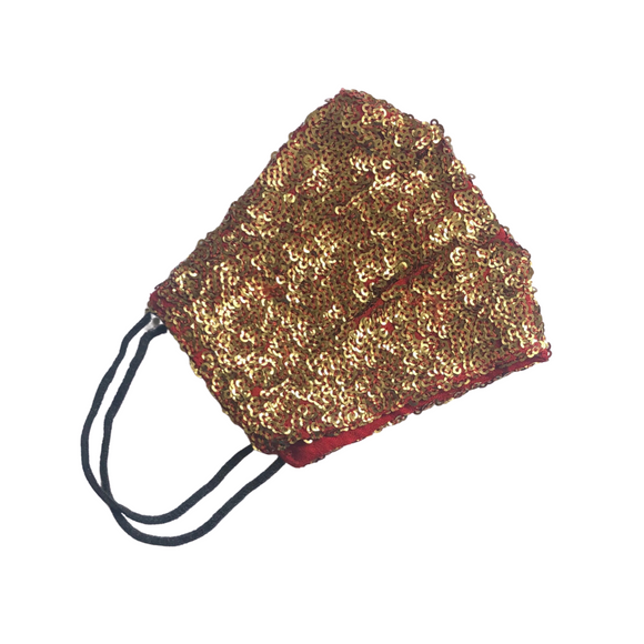 Soft Silk in Burgundy with Hand Embellished Sequin Face Mask - VzCollection