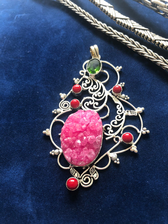 Fuchsia Pink Druze and Citrine Pendant