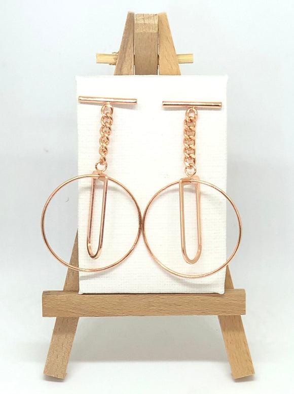 Abstract Circle Bar Earrings