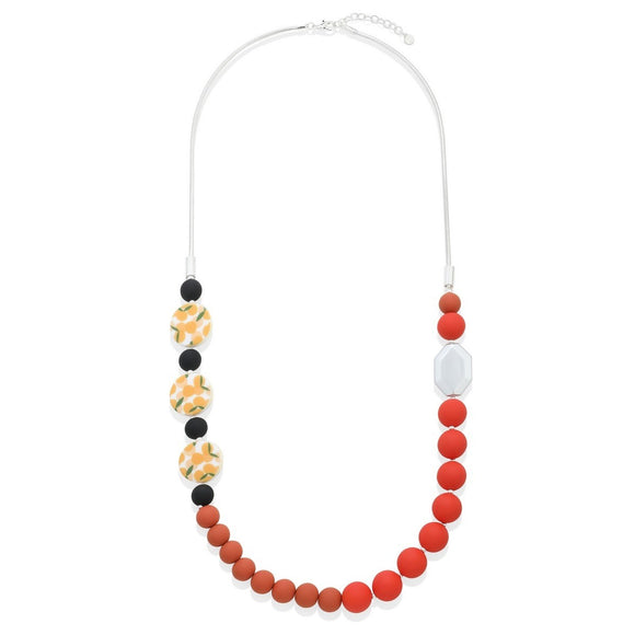 Orange Print Beaded Necklace - VzCollection