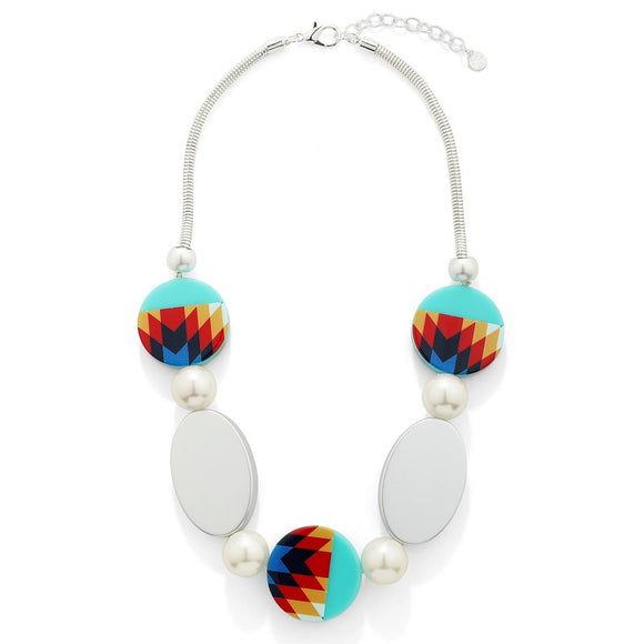 Multi Color Circle and Oval Shaped Beads Short Necklace - VzCollection