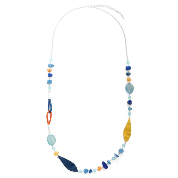 Multi Colored Resin Beads Long Necklace - VzCollection