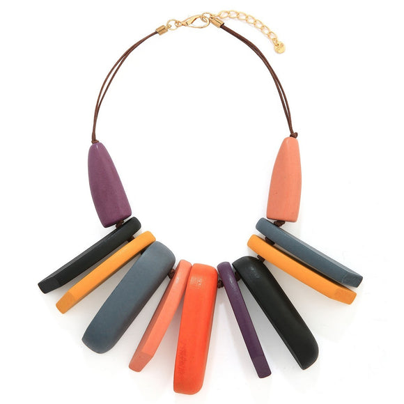Long Wooden Beaded Short Necklace - VzCollection