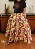 African Skirt Long Red Yellow Black