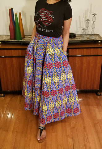 African Print Long Skirt Blue Red Gold