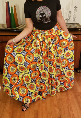 Orange Yellow BlueLong Skirt