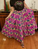 African Print Long Skirt Purple Gold Black