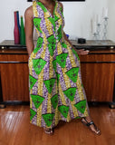 African Print Full Length JumpSuit Green Gold