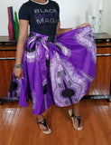 African Short Dashiki Purple White Skirt