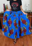 African Print Long Regal Blue Gold Skirt