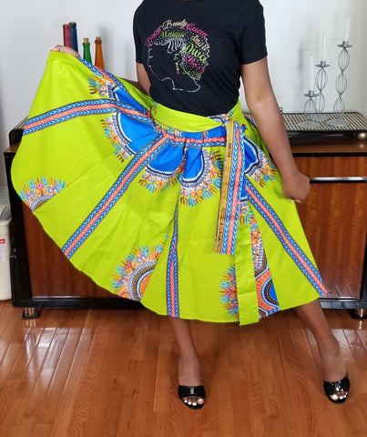 Dashiki Lime Green and Blue Short Skirt