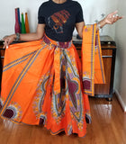 Dashiki Orange Long Skirt