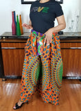 African Print Pants Green Orange Black