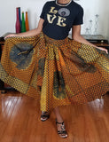 African Print Long Earth Gold Brown Yellow Skirt