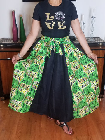 African Print Long Green Gold and Denim Skirt