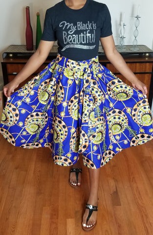African Print Short Blue Gold Skirt