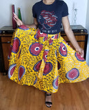 African Print Red Black Skirt