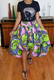 Pink & Green High Low Skirt