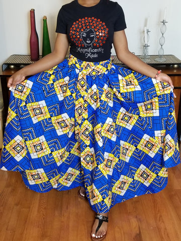 Blue and Yellow Long Skirt