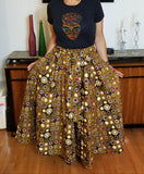Golden Bronze & Red Long Skirt