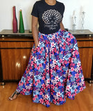 Pink Blue & White Floral Print Long Skirt