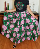 Pink & Green Floral Print Long Skirt