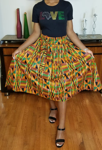 Red Yellow Green Short Skirt