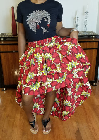 Red & Yellow High Low Skirt